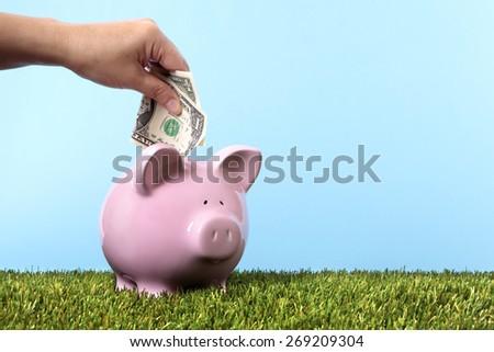 Saving money, vacation, retirement, piggy bank, grass and blue sky  - stock photo