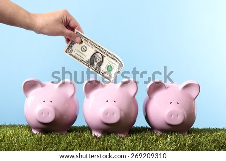 Saving money, vacation, retirement, piggy bank, grass and blue sky  - stock photo