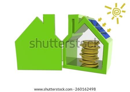 Saving money with solar panels  - stock photo