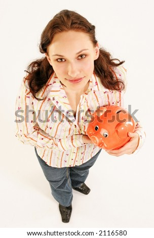 saving money-young woman with  a red money-box-looking up