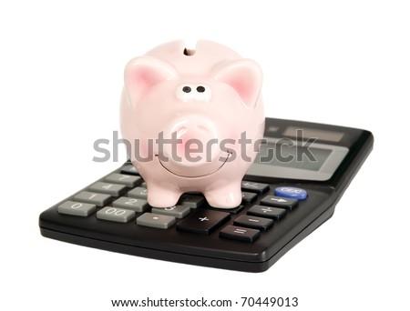 Saving pig is on calculator, finance concept - stock photo
