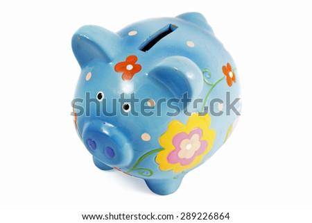 Saving pig on white background - stock photo