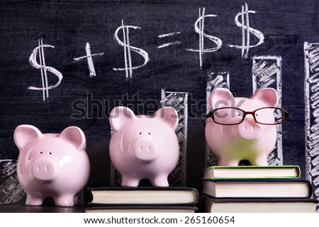 Saving plan, growth, piggybank - stock photo