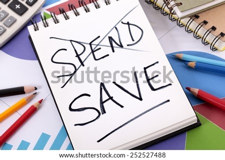 Saving plan : spend or save budget concept. - stock photo