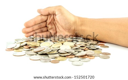 Saving protect money , hands holding a coin - stock photo