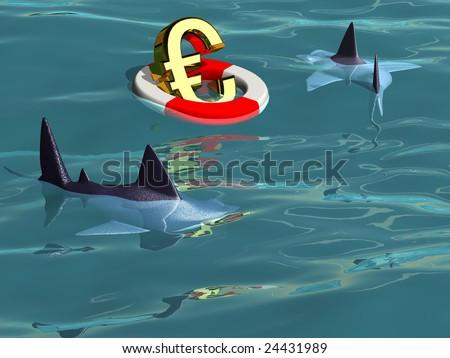 Saving the Euro - Sharks Prey Sharks circling a golden euro in a life saver. - stock photo