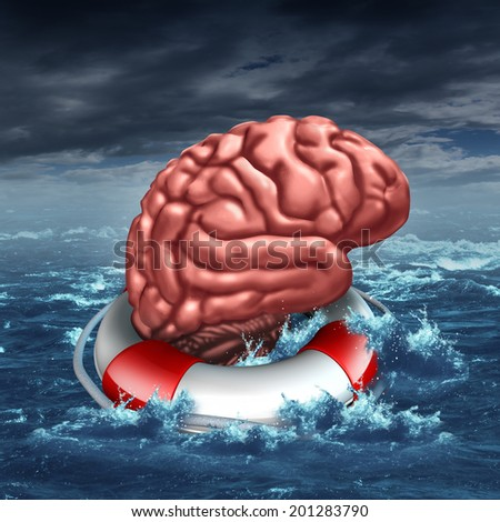 Saving your brain and preserving memory and neurological function as a lifesaver in the ocean - saving the human thinking organ as a health care and medical concept for cognitive therapy. - stock photo