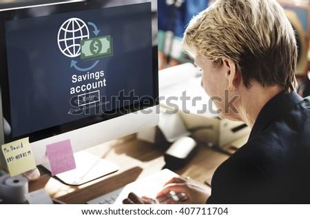 Savings Account Money Global Finance Concept - stock photo