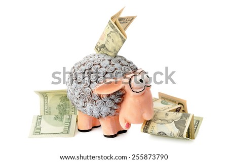 savings box and money isolated on white background - stock photo