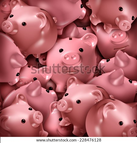Savings choice and crowd funding financial concept and a finance symbol for choosing the best investment as a confused group of three dimensional piggy banks stacked in a chaotic stack. - stock photo