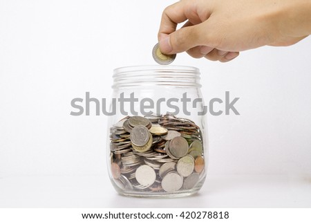 Savings Coins - Investment And Interest Concept - stock photo