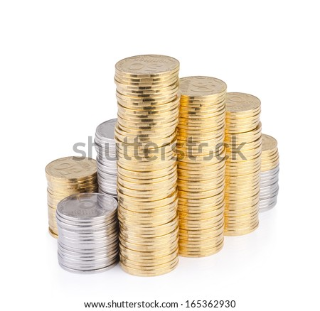 Savings  columns of gold coins isolated on white background. - stock photo