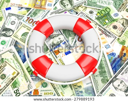 Savings concept. Lifebuoy on heap of different money bills