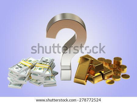 Savings concept. Piles of dollar bills and golden bullions with question mark on blue background - stock photo