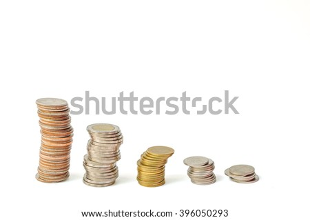 Savings, decreasing columns of coins isolated on white background