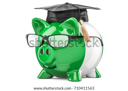 Savings for education in Nigeria concept, 3D rendering isolated on white background