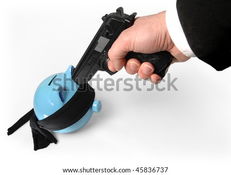Savings in a money box and a gun. Kidnapping in action. - stock photo