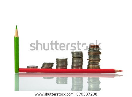 Savings, increase columns coins isolated on white background - stock photo