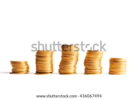 Savings, increasing columns of gold coins isolated on white background - stock photo