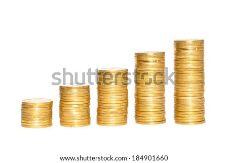Savings, increasing columns of gold coins over white background - stock photo