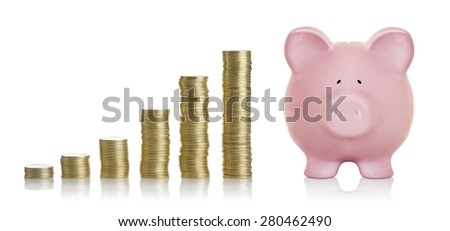 Savings, increasing columns of golden coins isolated on white background - stock photo