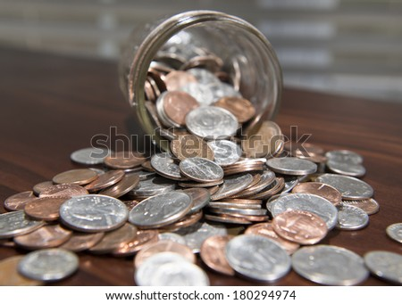 Savings Jar Full Of Money 2 - stock photo