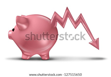 Savings loss and losing money with a ceramic piggy bank with a tail in the shape of a business stock market graph arrow going down as a financial concept of investment risk on a white background - stock photo