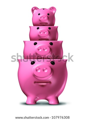 Savings loss and shrinking financial wealth and home finances with piggy banks shrinking in size as a symbol of debt and recession and losing money on a white background. - stock photo