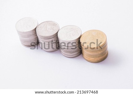 Savings, Thai coins stack on white background
