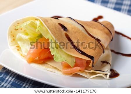 savory crepes - stock photo