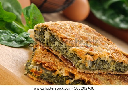 Savory pie with vegetables, closeup - stock photo