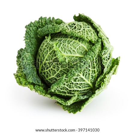 Savoy cabbage isolated on white background with clipping path - stock photo