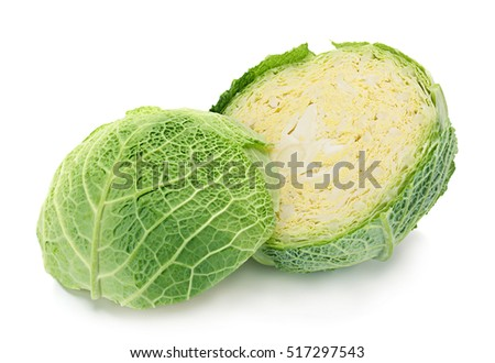 Savoy cabbage vegetable isolated on white background