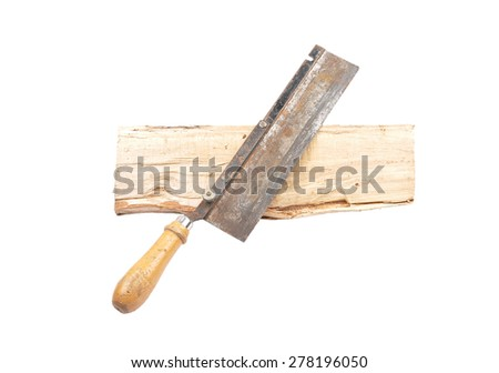 Saw on wood - stock photo