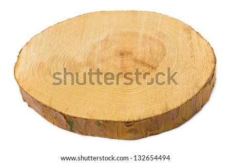 Sawn pine wood isolated on white background. View angle