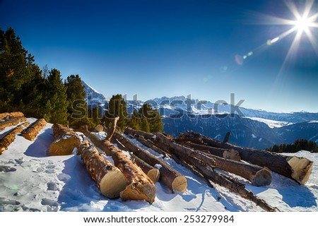 Sawn tree trunks in the snow in front of a panorama of snowy peaks on a bright sunny day in winter in Dolomites Alps - stock photo