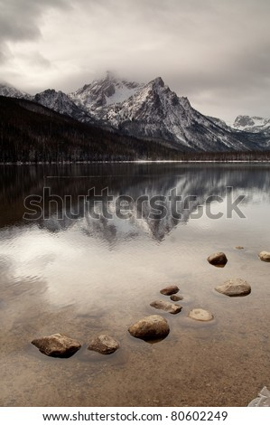 Sawtooth Range Rocky Mountains Lake Stanley  McGown Peak Custer County - stock photo