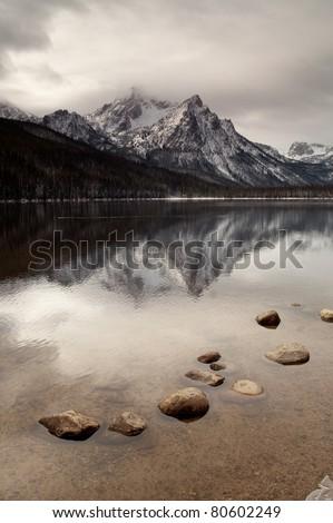 Sawtooth Range Rocky Mountains Lake Stanley  McGown Peak Custer County - stock photo