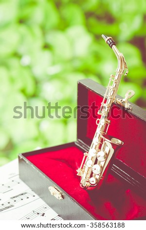 Sax, musical instrument - stock photo
