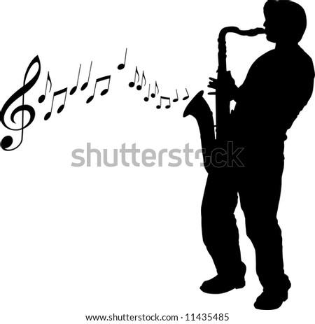 Sax player - stock photo