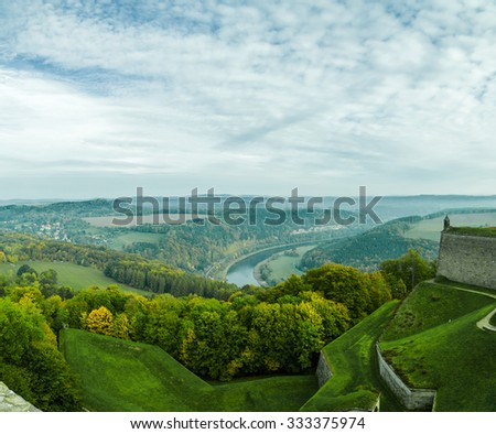 """Saxon Switzerland. Elbe river view from castle Koenigstein .Fortress """"Koenigstein"""" and the Elbe Valley, Saxony, Germany.Toned image - stock photo"""