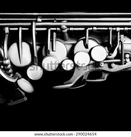 Saxophone alto jazz music instrument Sax close up Saxophone isolated on black - stock photo