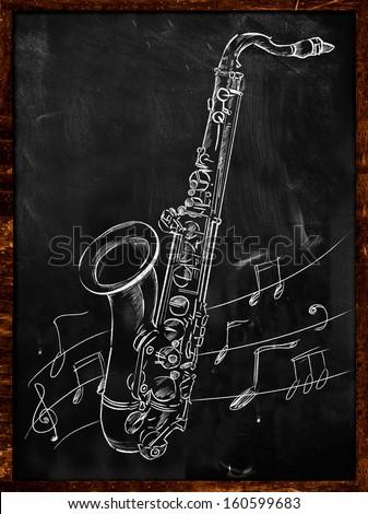 Saxophone Drawing Sketching On Blackboard Music Wallpaper