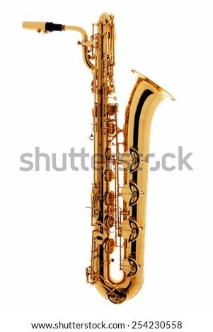 Saxophone instrument over white background - stock photo