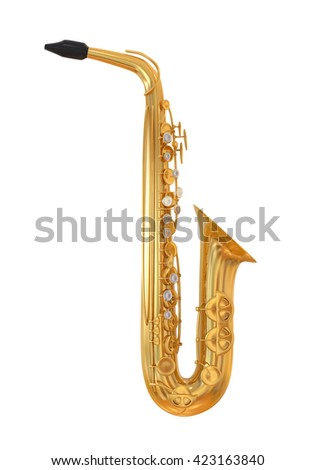 Saxophone isolated. 3D rendering