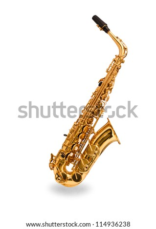 Saxophone on a white background