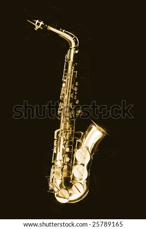 saxophone on the black background