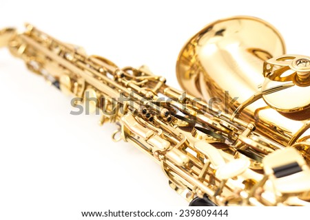 Saxophone on the white background - stock photo