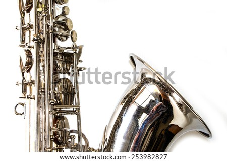 Saxophone on white background