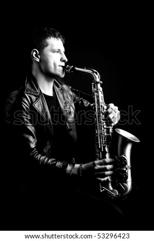 saxophone player - stock photo